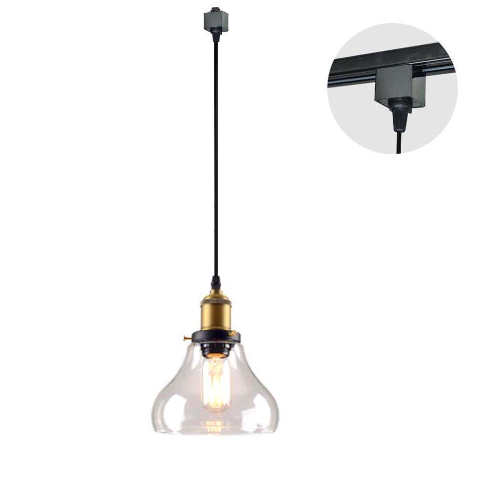 Kiven 1-Light H-Type Track Light Pendants 3.3 Feet Cord Restaurant Chandelier Decorative Instant Pendant Light Industrial Factory Pendant Lamp Bulb Not Included - Clear Glass Shade