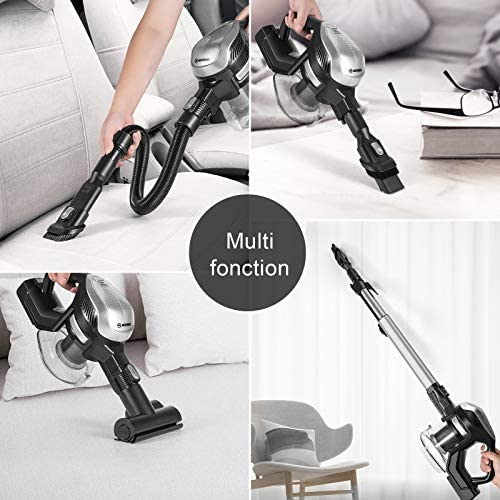 MOOSOO Cordless Vacuum Cleaner, 250W Upgrade Motor with 8 Count Batteries, 6-in-1 Stick Vacuum with 1.3L Large Capacity for Hard Floor Carpet Car Pet Lightweight