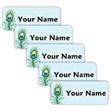 Original Personalized Peel and Stick Waterproof Custom Name Tag Labels for Adults, Kids, Toddlers, and Babies – Use for Office, School, or Daycare (Peacock Theme)