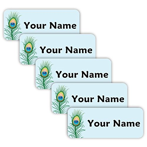 Original Personalized Peel and Stick Waterproof Custom Name Tag Labels for Adults, Kids, Toddlers, and Babies - Use for Office, School, or Daycare (Peacock Theme)]()