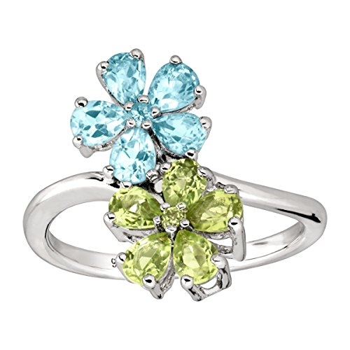 2 ct Natural Swiss Blue Topaz & Peridot Flower Ring in Rhodium-Plated Sterling Silver