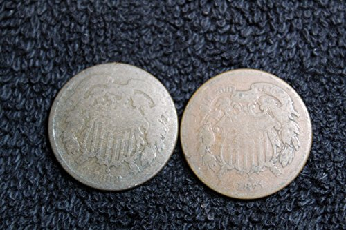 1864 to 1873 Two-Cent Pieces - Set of 2 Coins - Both Different Dates Genuine