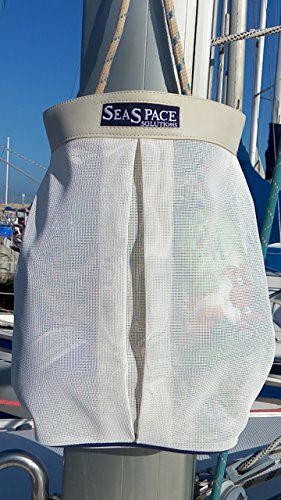 Mast Halyard Bag. Mesh Bag Stores Halyard Tails. Fresh Air Circulation. Moisture Drainage. Made With White Mesh With Marine Grade Leather Mast Collar. Easy To Fit With Velcro Straps. (Bag Halyard)
