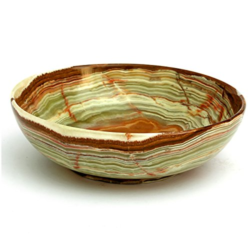 Natures Artifacts Beautifully Handcrafted Multi Green Onyx Serving Bowl 100 Natural Stone 6