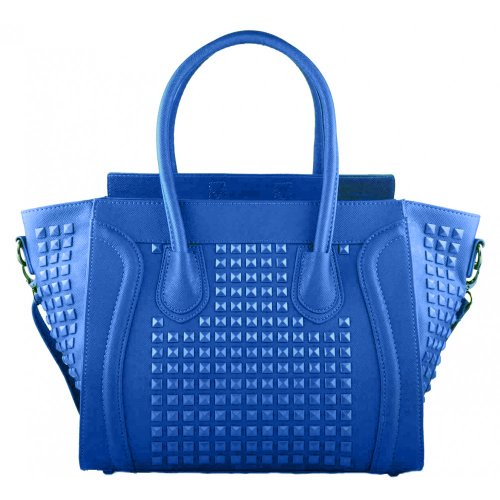 Designer Womens Tote Studded Celebrity Satchel Handbag Leather Shoulder Bag Style Blue Miss Smile Ladies Lulu tgxw5qfAAp