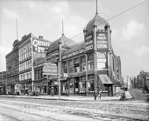 Detroit Historic Black & White Photo, Gately's Department Store on Michigan Avenue, c1906-55in x ()