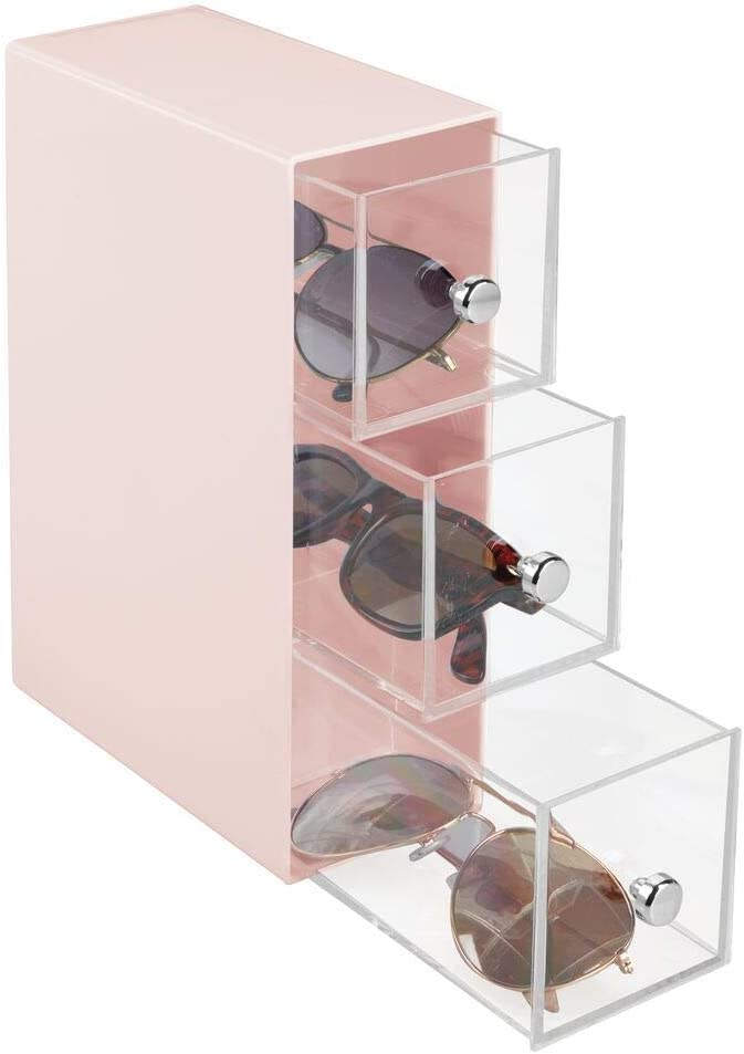 Organizador de Gafas con 3 cajones Crema y Transparente mDesign Cajonera de pl/ástico de Leer u Otros Accesorios Pr/áctica cajonera para Gafas de Sol