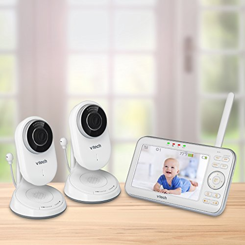 VTech VM5271-2 Video Baby Monitor with 5-inch Screen, Motorized Lens with 6x Optical Zoom, Soothing Sounds & Lullabies, Temperature Sensor & 1,000 feet of Range with 2 Cameras