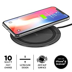 iHome Ultra Slim 10W Qi-Certified Fast Wireless Charging Pad for iPhone X 8/8 Plus