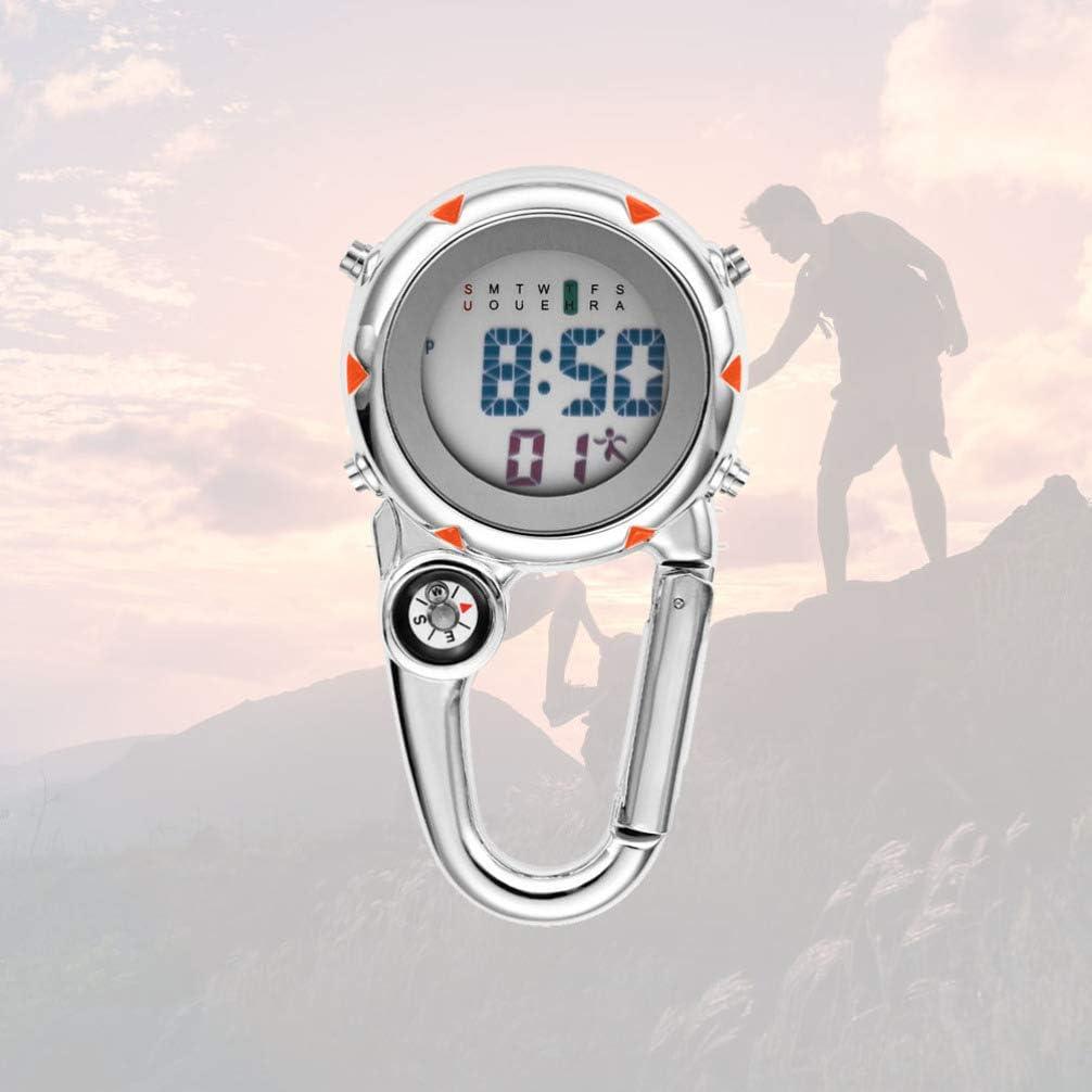 VOSAREA Karabiner Uhr Digital Sportuhren Angeln Wandern Klettern Mini Taschenuhr mit Kompass Camping Outdoor Activities /Ärzte Krankenschwestern Orange