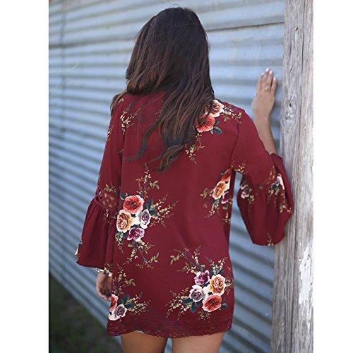 Mi Courte Longues Grandes Rouge Manches Veste Cardigan de Printemps Chic Automne Soie Femme Mousseline Gilet en Ouvert Blazers Tailles lgant Veste Saison YwZEpq