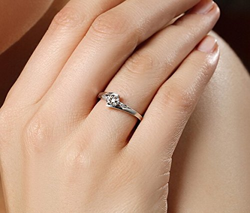Wedding Silver Plate Eternity Rings Promise Love Forever Crystal Couple Rings, Wedding Band Endless Love Rhinestone Couple Ring Sets Engagement Jewelry Men Women Lovers Valentine Christmas Gift for His and Her (Women Size6.75)