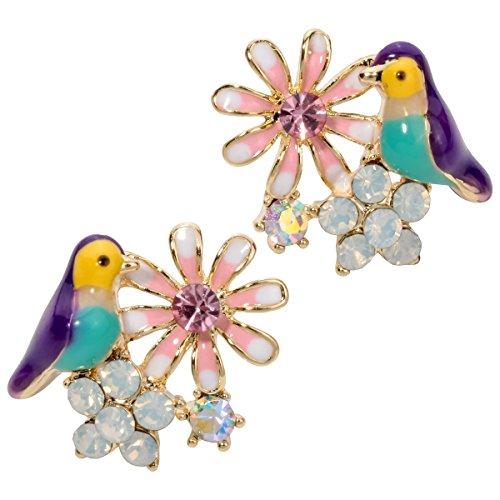 Szxc Jewelry Women Fashion Crystal Flower Bird Stud Earrings