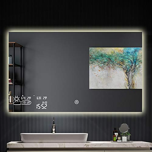 BYECOLD Horizontal Vanity Bathroom Mirror with LED Light Touch Switch Demister Weather -
