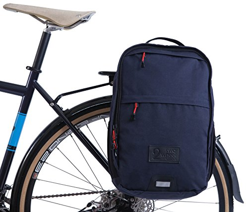 Two Wheel Gear - Pannier Backpack Convertible - 2 in 1 Commuting and Travel Bike Bag (Military Waxed Canvas - Navy) by Two Wheel Gear