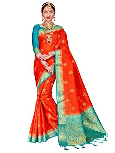 - ELINA FASHION Sarees for Women Banarasi Art Silk Woven Work Saree l Indian Wedding Ethnic Wear Sari & Blouse Piece (Coral)