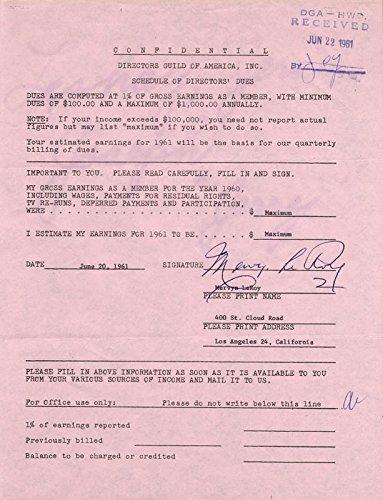 mervyn-leroy-document-signed-06-20-1961