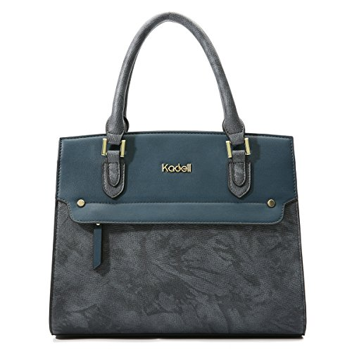 Leather Women Kadell Peacock Satchel Shoulder for Clutch PU Purse Large Handle Bags Tote Handbag Bags Blue Evening Top wRnfZ4EqxR