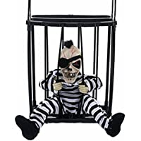 M&G House Halloween Motion Sensor Hanging Caged Animated Jail Prisoner Skeleton Terror Decoration Flashing Light up Prop Toy Hair