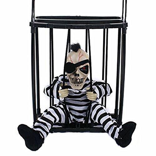 M&G House Halloween Motion Sensor Hanging Caged Animated Jail Prisoner Skeleton Terror Decoration Flashing Light up Prop Toy Hair
