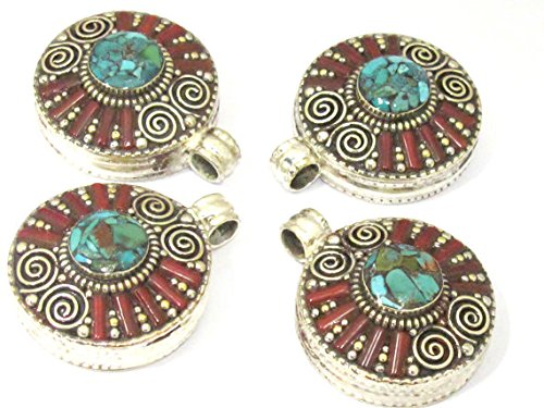 1 Pendant - Ethnic Tibetan silver Ghau prayer box spiral design pendant with turquoise inlay - PM426 (Ghau Box Turquoise)