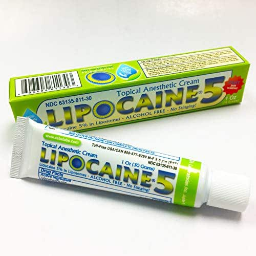 LIPOCAINE 5 (1 oz) Lidocaine Pain Relief Cream, Lidocaine Ointment, Numbing Cream Made in USA