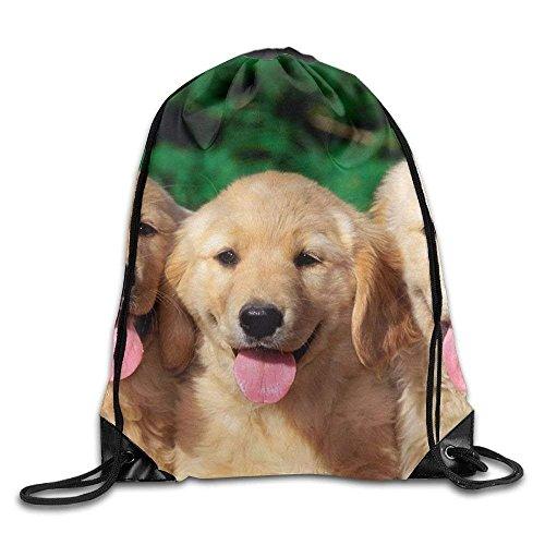 Golden Retriever With Smiling Face Customized Dog Print Drawstring Backpack Rucksack Shoulder Bags Gym Bag Sport ()
