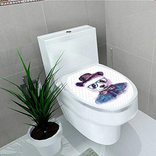 Analisa A. Houk Toilet Seat Wall Stickers Paper Hipster Panda Bow Tie Dickie Hat Horn Rimmed Glasses Style Decals DIY Decoration W13 x L13