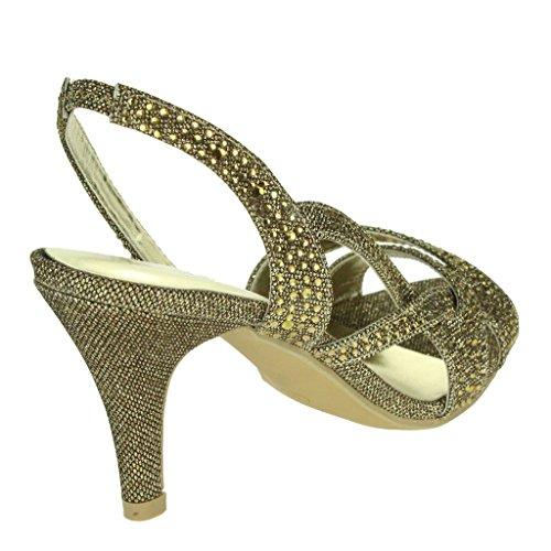 Mujer Señoras Diamante Detalle Correa superpuesta Slingback Tacón medio Noche Fiesta Boda Paseo Sandalias Zapatos Talla Marrón