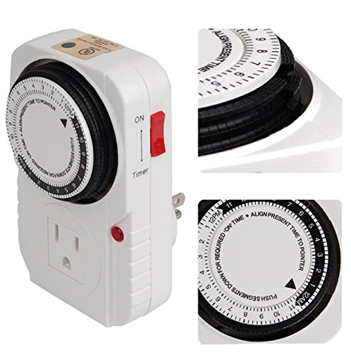 Timer 24 Hour 1875W 15A For Home Kitchengrow Tent Fan Blower Aquarium Light Switch Us