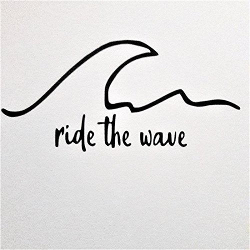 Chase Grace Studio Ride The Wave Surf Ocean Vinyl Decal Sticker|BLACK|Cars Trucks Vans SUV Laptops Surfboards Walls Glass Metal |7.5