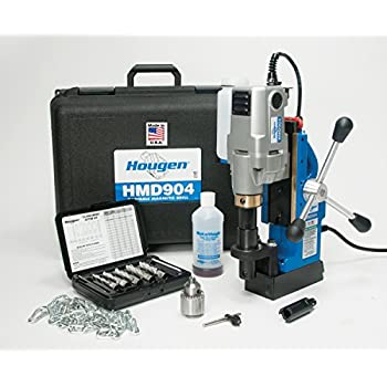 Hougen HMD904 115 Volt Magnetic Drill W Coolant Bottle Plus 1 2 Chuck Adapter And 12002 Rotabroach Cutter Kit