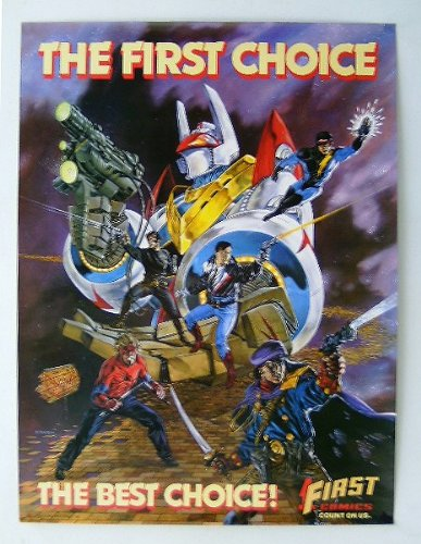 1987 First Comics poster! Rare vintage original 1980's First Comics promotional promo poster featuring Nexus, GrimJack, American Flagg, Badger, Dynamo Joe, and Jon Sable! Scarce 80's comic book shop dealer's superheroes promotional poster, in the super rare ROLLED, never folded variant format!