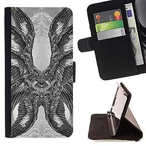 BullDog Case - FOR/Apple Iphone 6 PLUS 5.5 / - / HAWK OWL EAGLE EYE FEATHERS WINGS /- Monedero de cuero de la PU Llevar cubierta de la caja con el ID Credit Card Slots Flip funda de cuer