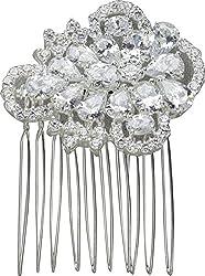 Nina Women's Leland Silver/CZ Hair Clip One Size