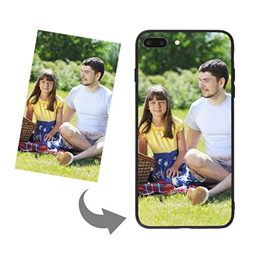 (LONTG Customize Your Own Phone Case Personalized Slim Phone Case Cover for iPhone 8 Plus DIY Customized Picture Photo Tempered Glass Cover Soft Silicone Rubber Bumper Frame Case Birthday Xmas Gift)