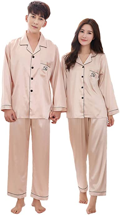 Domple Mens Nightwear Pockets 1 Piece Buttons Long Sleeve Pajama Sets
