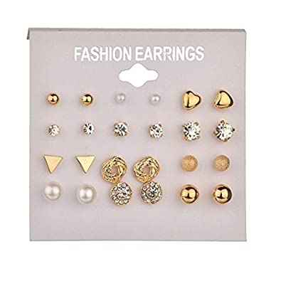 3c97def344 Simple Ear Stud Earrings Set, 12 Pairs, Pearl, Punk, Flowers, Hearts,  Diamond, Triangle Ear Studs, Gold, Hypoallergenic Small Statement Stud  Earring Set for ...