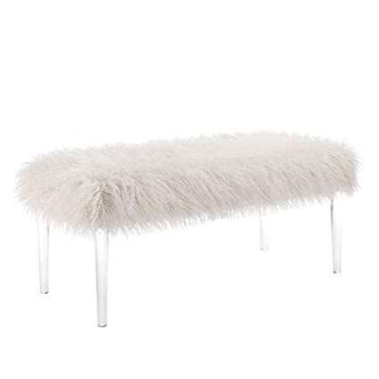 Awesome Linon Elsie Faux Fur Acrylic Bench Off Off White Squirreltailoven Fun Painted Chair Ideas Images Squirreltailovenorg
