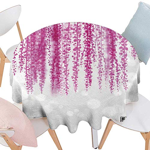 longbuyer Tassel Tablecloth Pink Wisteria Hand Drawn with Ink Round Tablecloth D 50