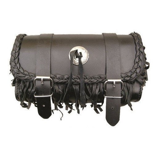 AL3522 Allstate Leather - Genuine Leather Motorcycle Tool Bag - Braid Leather & Fringe (Leather Fringe Motorcycle Tool Bag)