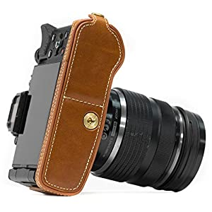 "MegaGear ""Ever Ready"" Leather Half Bottom Camera Case, Bag (Bottom Opening Version) – Protective Cover for Olympus OM-D E-M5 Mark II"