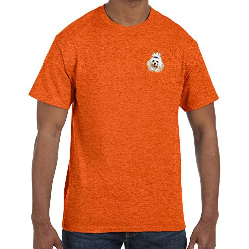 Cherrybrook Dog Breed Embroidered Mens T-Shirts - X-Large - Antique Orange - Maltese