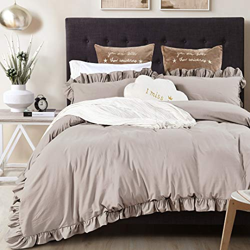 Queen's House Vintage Washed Cotton Duvet Cover Bedding Set Taupe