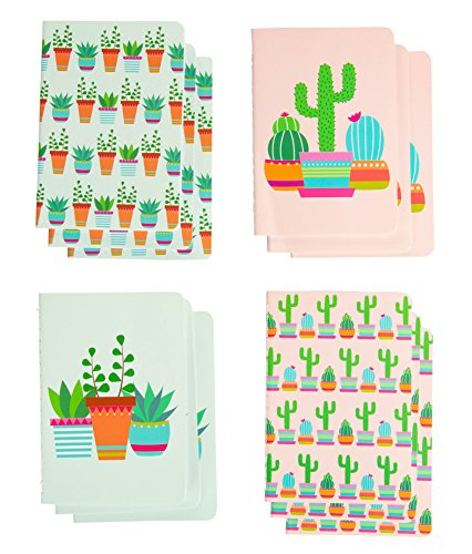 Memo Book - 12-Pack Mini Notebooks, 4 Cacti Designs, Field Notebook, Pocket Journal for Kids, Perfect for Journaling, Diary, Note Taking, Soft Cover, 16 Ruled Sheets Each, 3.5 x 5 Inches