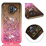 Amocase Funny Liquid Case with Black 2 in 1 Stylus for Samsung Galaxy A6 2018,Cute 3D Glitter Diamond Shockproof Quicksand Crystal Silicone Clear Cover for Samsung Galaxy A6 2018 - Gray Pink