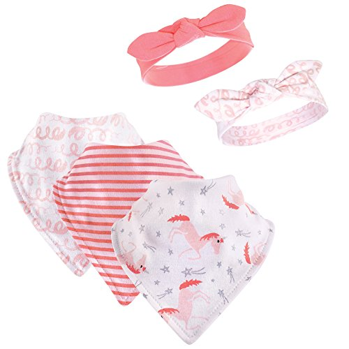 Hudson Baby Baby Bandana Bib and Headbands Set, 5 Piece, Coral Unicorn, 0-9 Months