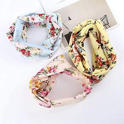 9 Pack Women's Boho Headbands for Women Girls Wide Bohemian Knotted Yoga Headband Head Wrap Hair Band Elastic Hair Band Accessories for girl