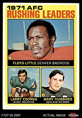 - 1972 Topps # 1 AFC Rushing Leaders Larry Csonka/Floyd Little/Marv Hubbard Denver/Miami/Oakland Broncos/Dolphins/Raiders (Football Card) Dean's Cards 5 - EX Broncos/Dolphins/Raiders