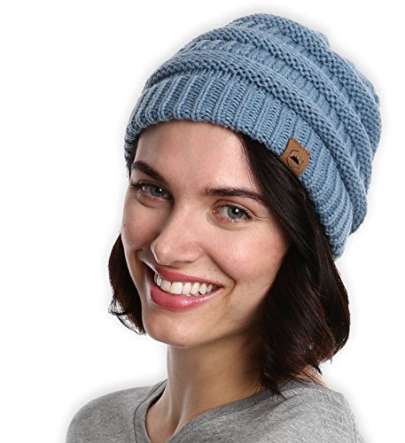 Chunky Cable Knit Beanie by Tough Headwear - Year Round Beanie Hats for Warmth & Style - Perfect for Women & Men (Light Blue)